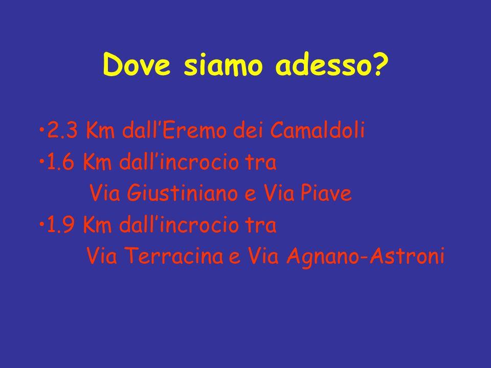 Dove siamo adesso? 2.3 Km dallEremo dei Camaldoli 1.6 Km dallincrocio tra Via Giustiniano e Via Piave 1.9 Km dallincrocio tra Via Terracina e Via Agna