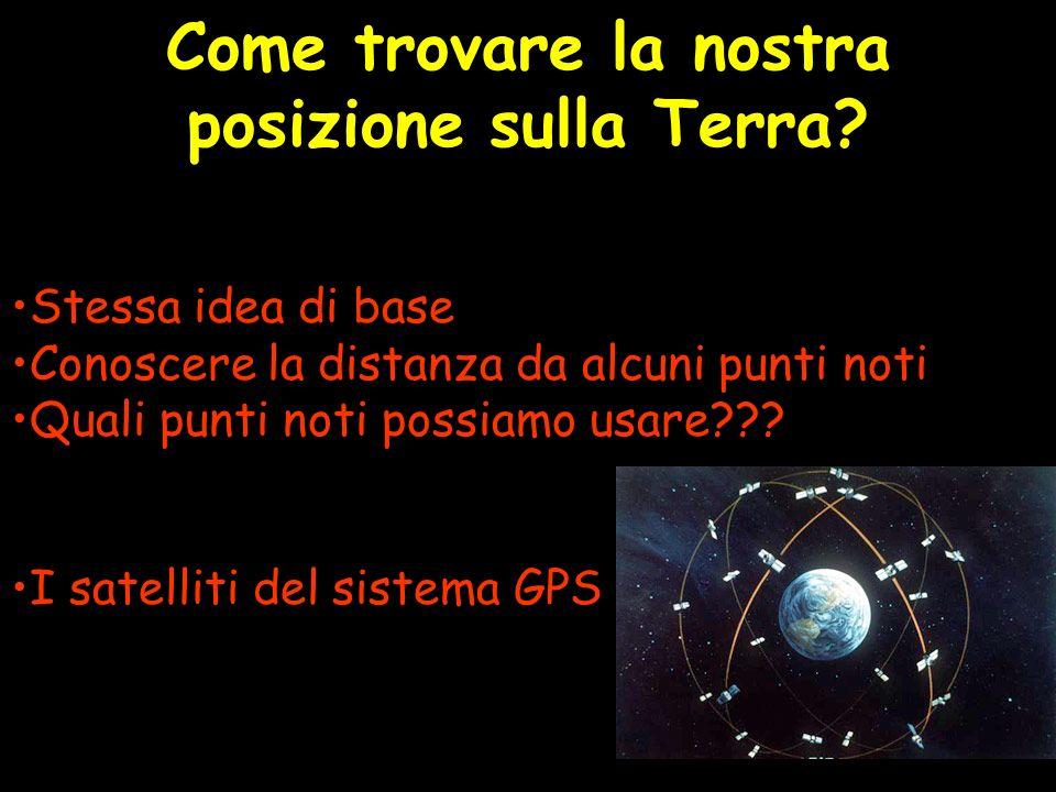 Come trovare la nostra posizione sulla Terra? Stessa idea di base Conoscere la distanza da alcuni punti noti Quali punti noti possiamo usare??? I sate