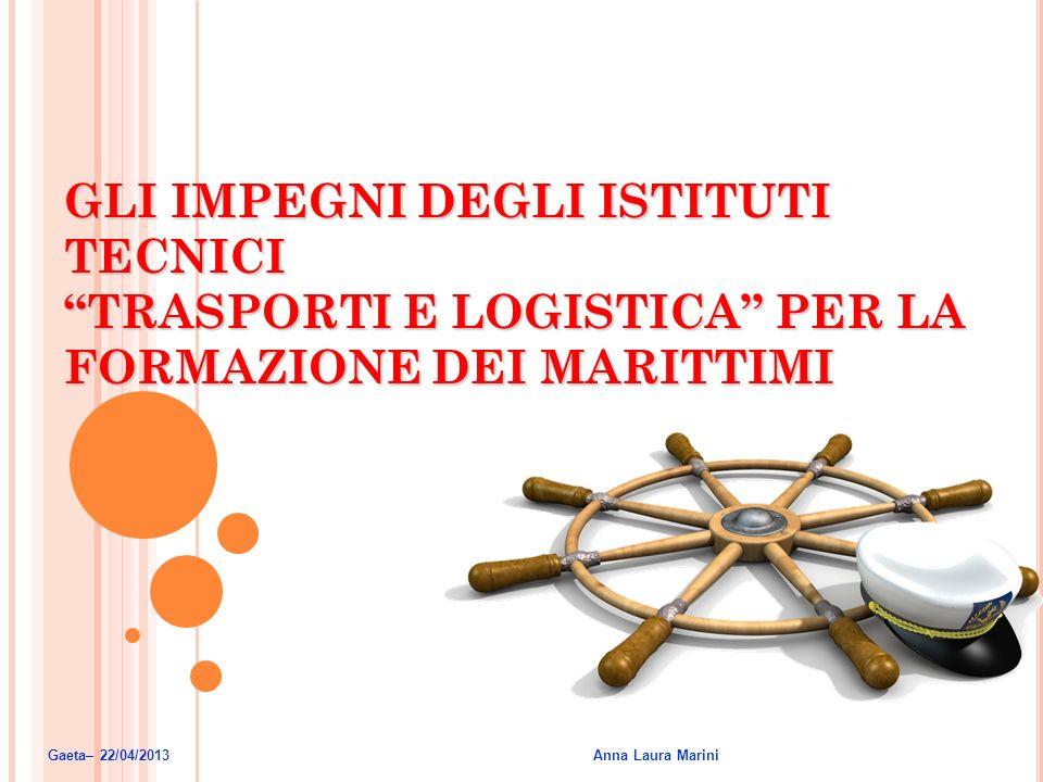 GLI IMPEGNI DEGLI ISTITUTI TECNICI TRASPORTI E LOGISTICA PER LA FORMAZIONE DEI MARITTIMI Gaeta– 22/04/2013 Anna Laura Marini