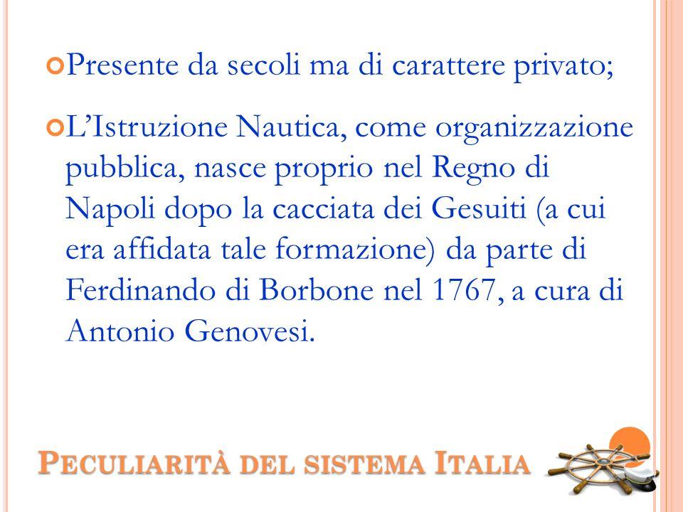 P ECULIARITÀ DEL SISTEMA I TALIA Presente da secoli ma di carattere privato; LIstruzione Nautica, come organizzazione pubblica, nasce proprio nel Regn