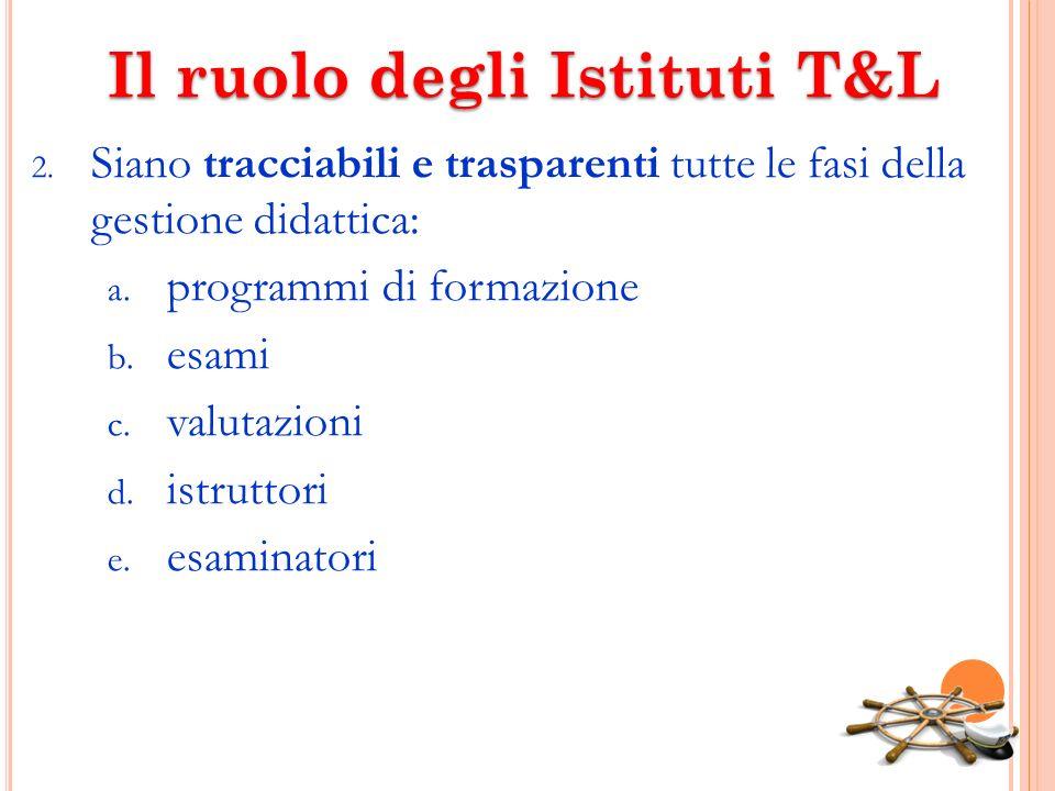 Il ruolo degli Istituti T&L 2. Siano tracciabili e trasparenti tutte le fasi della gestione didattica: a. programmi di formazione b. esami c. valutazi