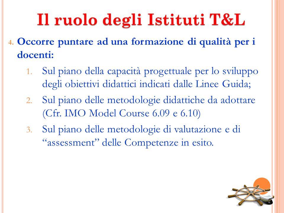 Il ruolo degli Istituti T&L 4. Occorre puntare ad una formazione di qualità per i docenti: 1. Sul piano della capacità progettuale per lo sviluppo deg