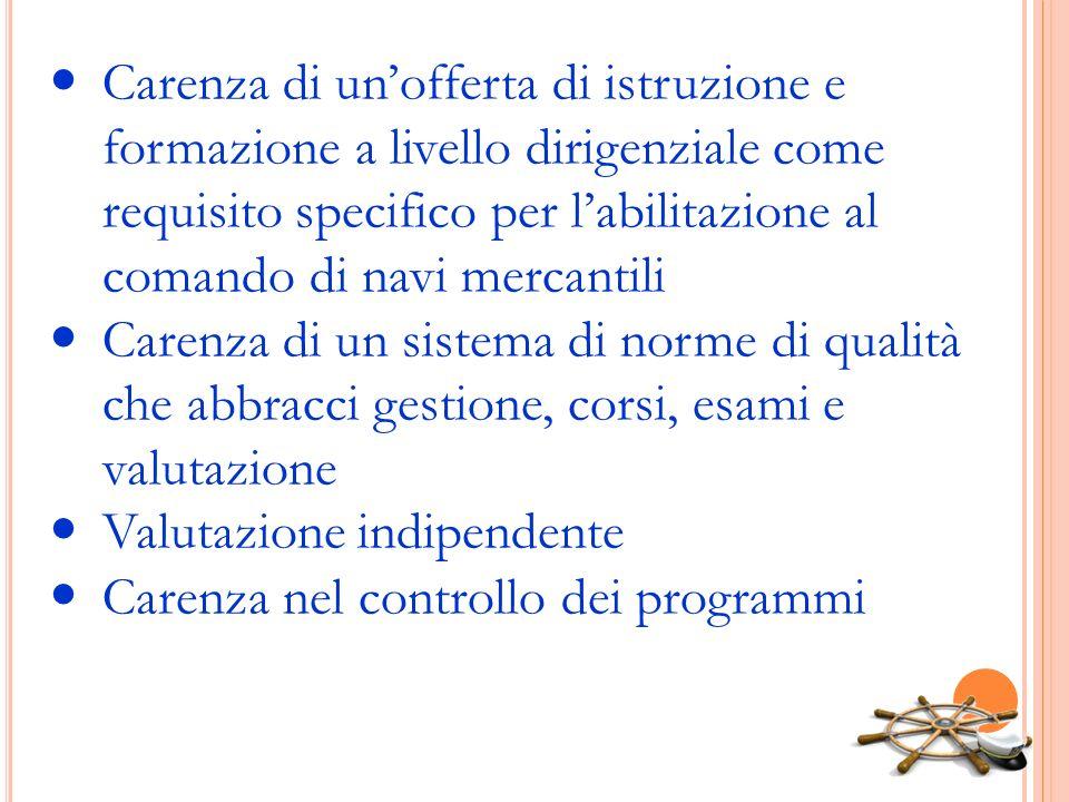 Direttiva2008/106/CE Entra in vigore il 01 gennaio 2009 Aggiunge alcune norme per lIstruzione e la Formazione dei Marittimi … focalizzando la sua attenzione anche sullIstruzione Pubblica