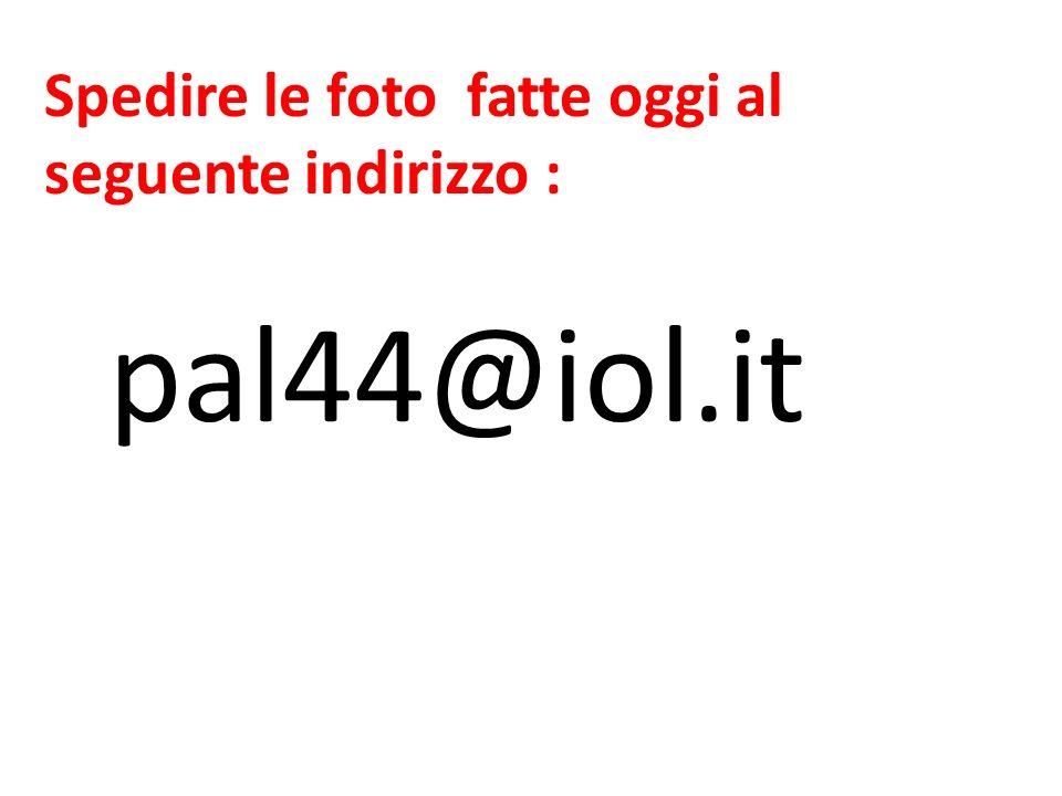 Spedire le foto fatte oggi al seguente indirizzo : pal44@iol.it