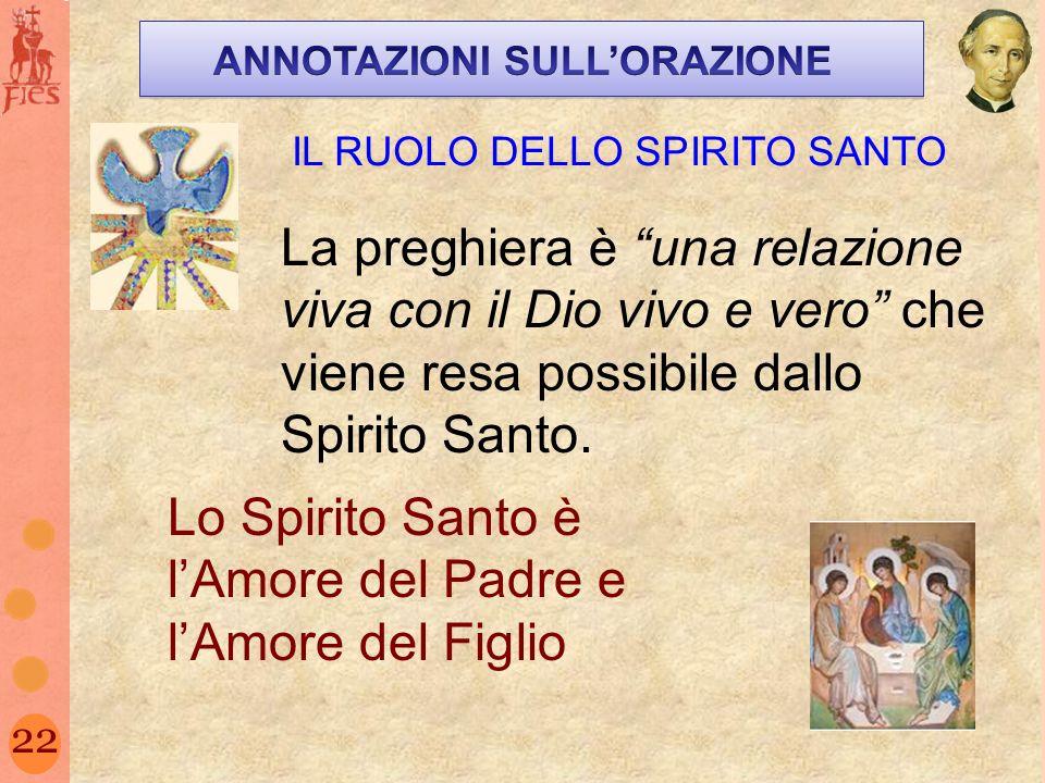 22 IL RUOLO DELLO SPIRITO SANTO La preghiera è una relazione viva con il Dio vivo e vero che viene resa possibile dallo Spirito Santo. Lo Spirito Sant