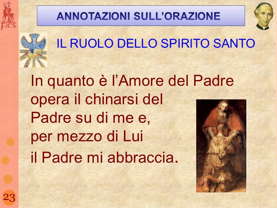23 IL RUOLO DELLO SPIRITO SANTO In quanto è lAmore del Padre opera il chinarsi del Padre su di me e, per mezzo di Lui il Padre mi abbraccia.