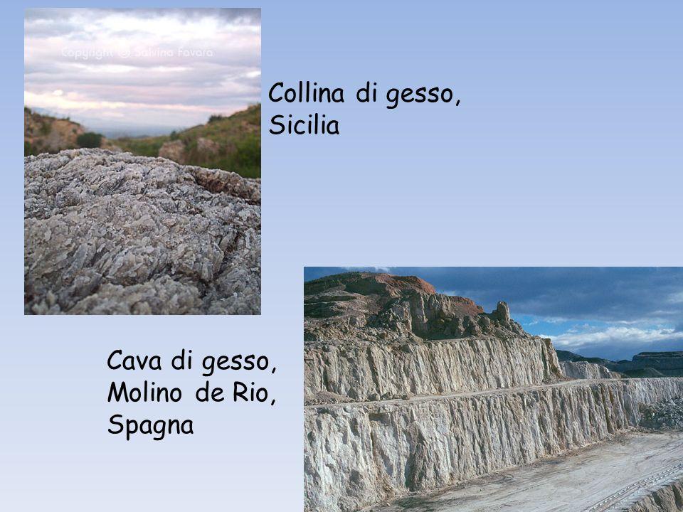 Cava di gesso, Molino de Rio, Spagna Collina di gesso, Sicilia