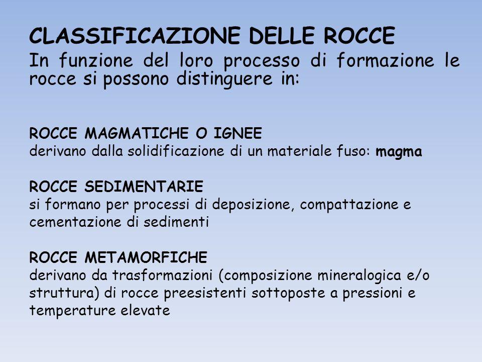 CLASSIFICAZIONE DELLE ROCCE In funzione del loro processo di formazione le rocce si possono distinguere in: ROCCE MAGMATICHE O IGNEE derivano dalla solidificazione di un materiale fuso: magma ROCCE SEDIMENTARIE si formano per processi di deposizione, compattazione e cementazione di sedimenti ROCCE METAMORFICHE derivano da trasformazioni (composizione mineralogica e/o struttura) di rocce preesistenti sottoposte a pressioni e temperature elevate