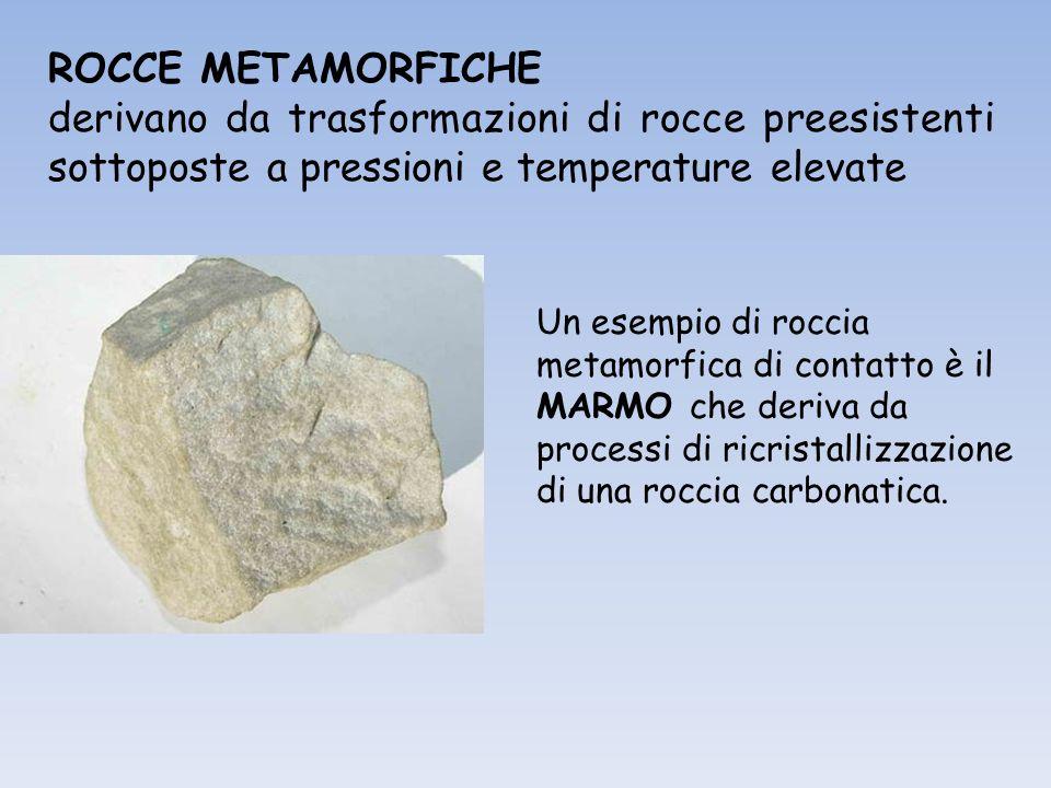 ROCCE METAMORFICHE derivano da trasformazioni di rocce preesistenti sottoposte a pressioni e temperature elevate Un esempio di roccia metamorfica di contatto è il MARMO che deriva da processi di ricristallizzazione di una roccia carbonatica.