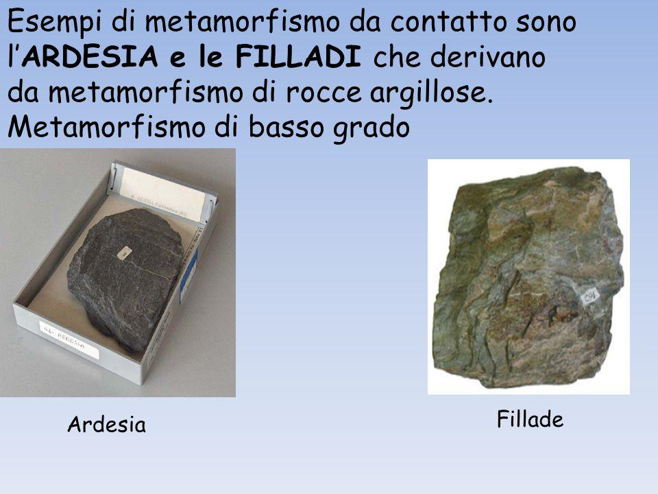 Esempi di metamorfismo da contatto sono lARDESIA e le FILLADI che derivano da metamorfismo di rocce argillose. Metamorfismo di basso grado Ardesia Fil