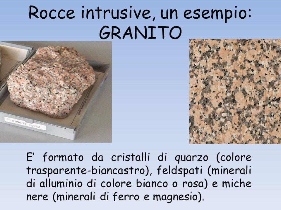 Rocce intrusive, un esempio: GRANITO E formato da cristalli di quarzo (colore trasparente-biancastro), feldspati (minerali di alluminio di colore bianco o rosa) e miche nere (minerali di ferro e magnesio).