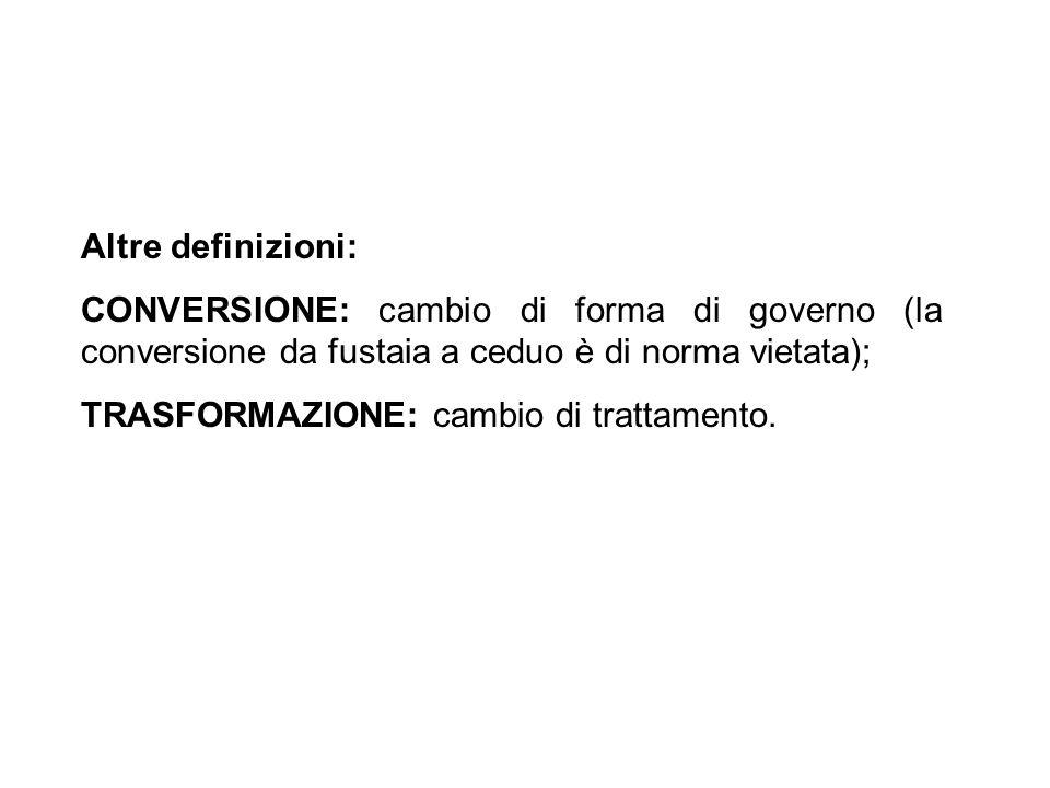 Altre definizioni: CONVERSIONE: cambio di forma di governo (la conversione da fustaia a ceduo è di norma vietata); TRASFORMAZIONE: cambio di trattamen