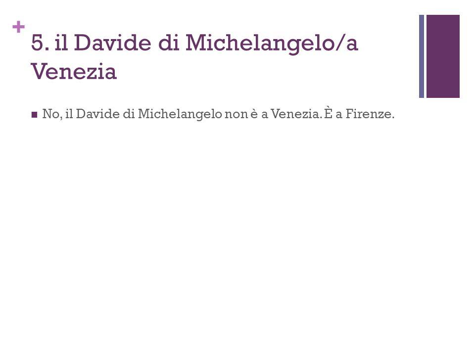 + 5. il Davide di Michelangelo/a Venezia No, il Davide di Michelangelo non è a Venezia. È a Firenze.
