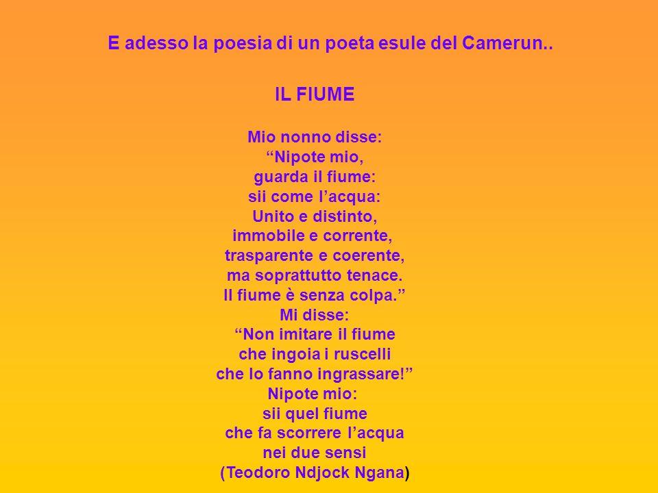 E adesso la poesia di un poeta esule del Camerun.. IL FIUME Mio nonno disse: Nipote mio, guarda il fiume: sii come lacqua: Unito e distinto, immobile