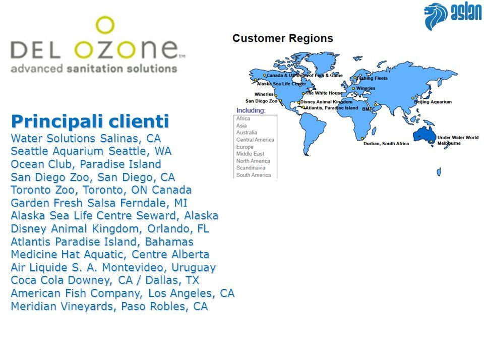 Principali clienti Water Solutions Salinas, CA Seattle Aquarium Seattle, WA Ocean Club, Paradise Island San Diego Zoo, San Diego, CA Toronto Zoo, Toro