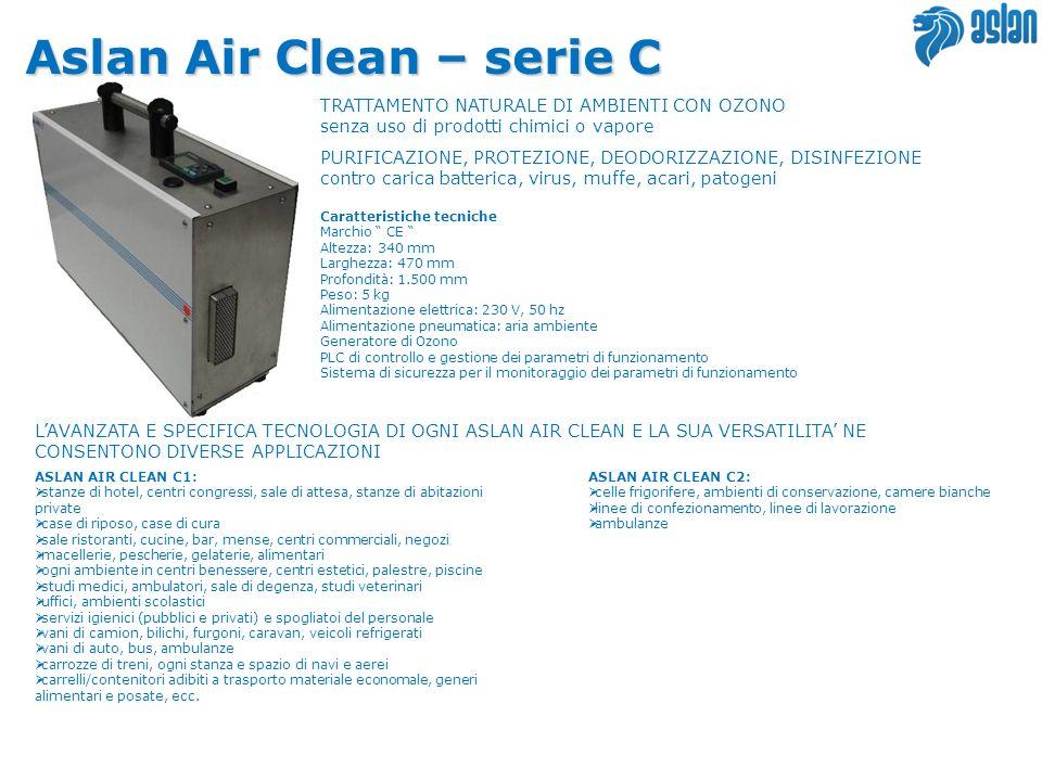 Aslan Air Clean – serie C TRATTAMENTO NATURALE DI AMBIENTI CON OZONO senza uso di prodotti chimici o vapore PURIFICAZIONE, PROTEZIONE, DEODORIZZAZIONE