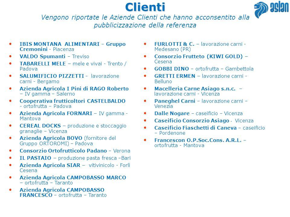 IBIS MONTANA ALIMENTARI – Gruppo Cremonini - Piacenza VALDO Spumanti – Treviso TABARELLI MELE – mele e vivai - Trento / Padova SALUMIFICIO PIZZETTI -