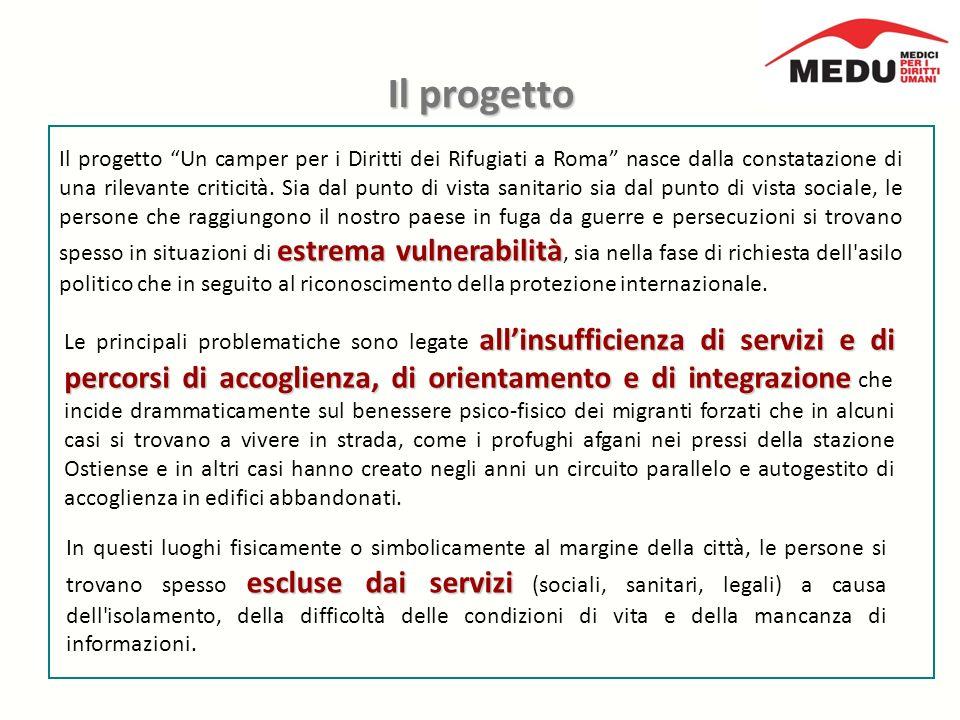 Il progetto estrema vulnerabilità Il progetto Un camper per i Diritti dei Rifugiati a Roma nasce dalla constatazione di una rilevante criticità.