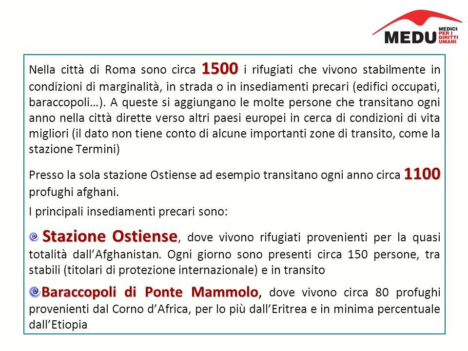 1500 Nella città di Roma sono circa 1500 i rifugiati che vivono stabilmente in condizioni di marginalità, in strada o in insediamenti precari (edifici occupati, baraccopoli…).