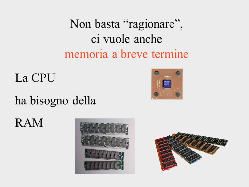 Non basta ragionare, ci vuole anche memoria a breve termine La CPU ha bisogno della RAM