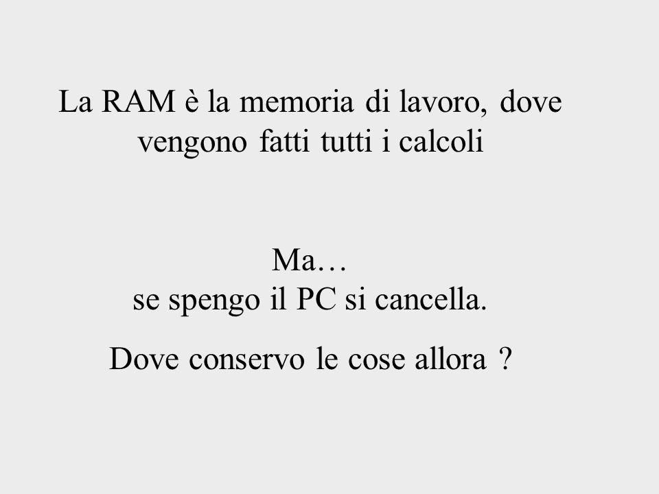 La RAM è la memoria di lavoro, dove vengono fatti tutti i calcoli Ma… se spengo il PC si cancella. Dove conservo le cose allora ?
