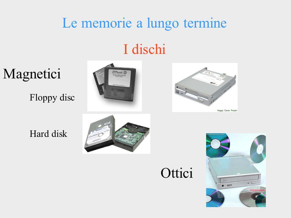 Le memorie a lungo termine I dischi Magnetici Floppy disc Hard disk Ottici