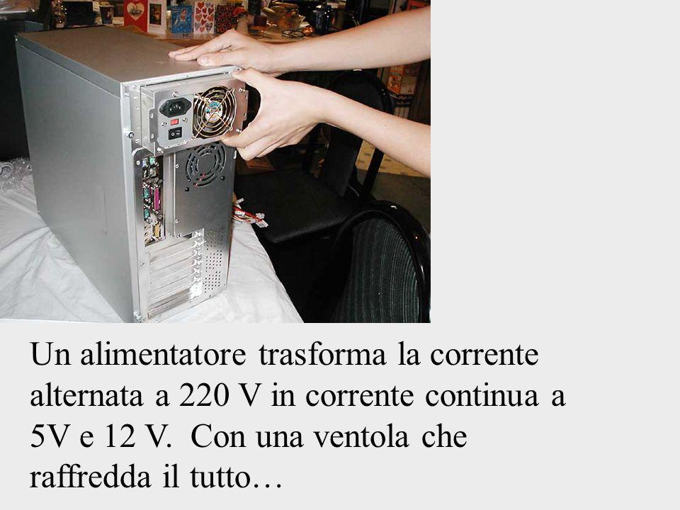 Un alimentatore trasforma la corrente alternata a 220 V in corrente continua a 5V e 12 V. Con una ventola che raffredda il tutto…