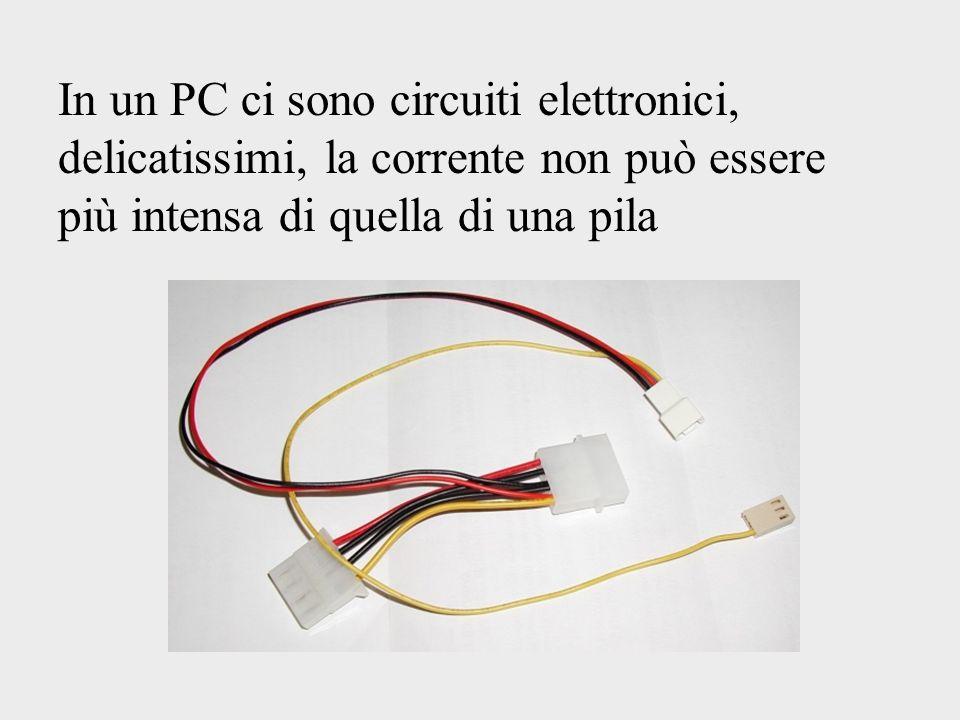 In un PC ci sono circuiti elettronici, delicatissimi, la corrente non può essere più intensa di quella di una pila