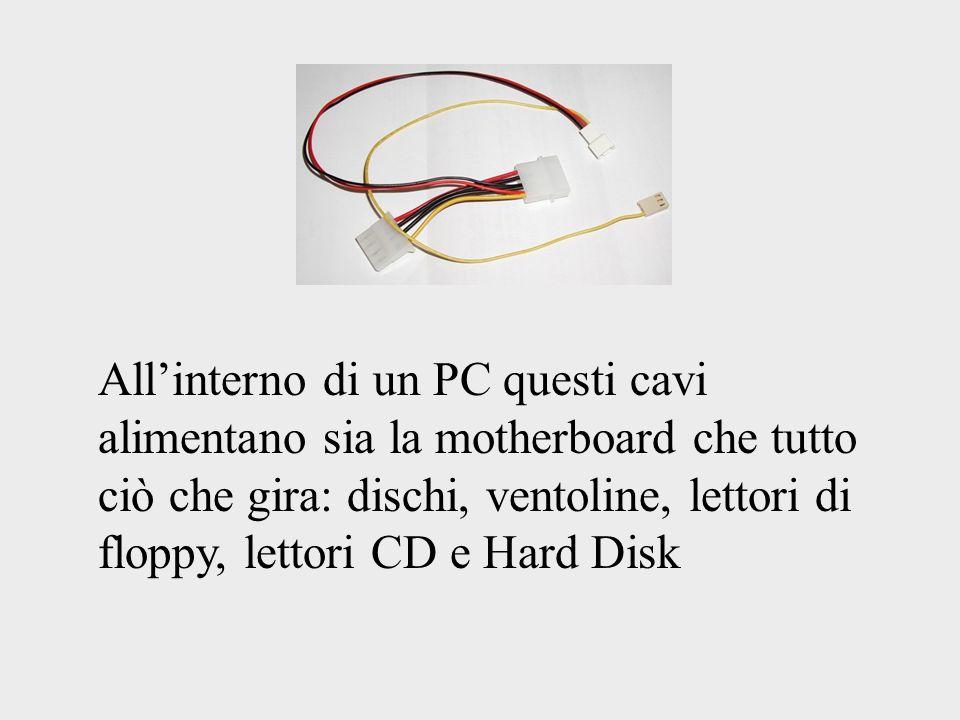 Allinterno di un PC questi cavi alimentano sia la motherboard che tutto ciò che gira: dischi, ventoline, lettori di floppy, lettori CD e Hard Disk