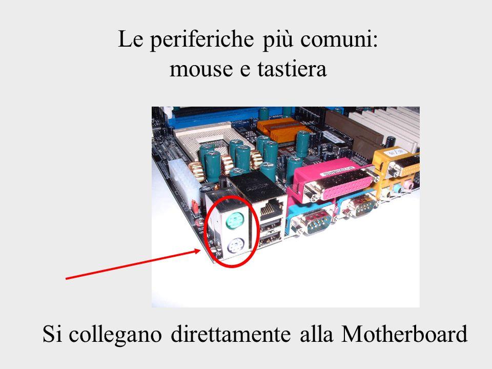 Le periferiche più comuni: mouse e tastiera Si collegano direttamente alla Motherboard