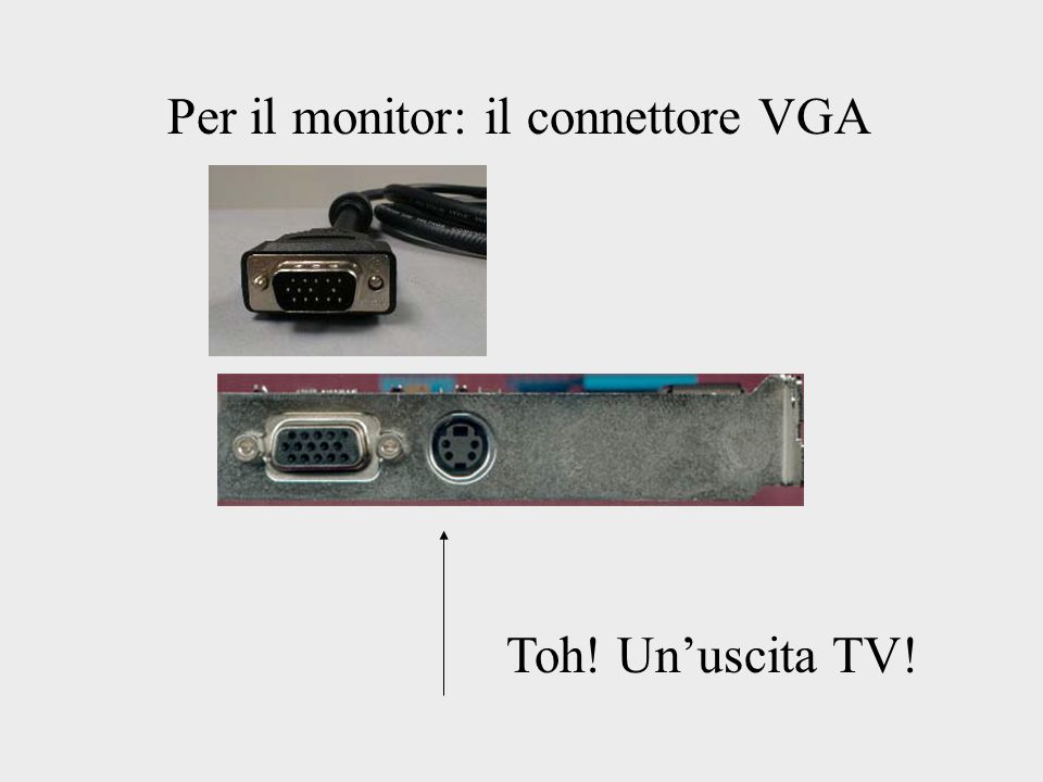 Per il monitor: il connettore VGA Toh! Unuscita TV!