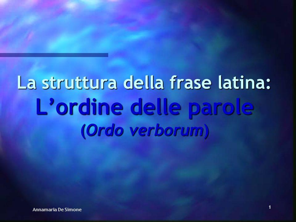 Annamaria De Simone 21 Un criterio per classificare le lingue dal punto di vista sintattico è quello dellordine degli elementi principali della frase (Soggetto, Verbo, complemento Oggetto).