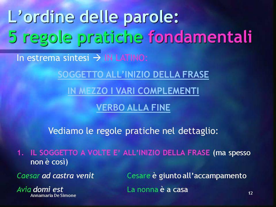 Annamaria De Simone 11 Lordine delle parole: 5 regole pratiche fondamentali