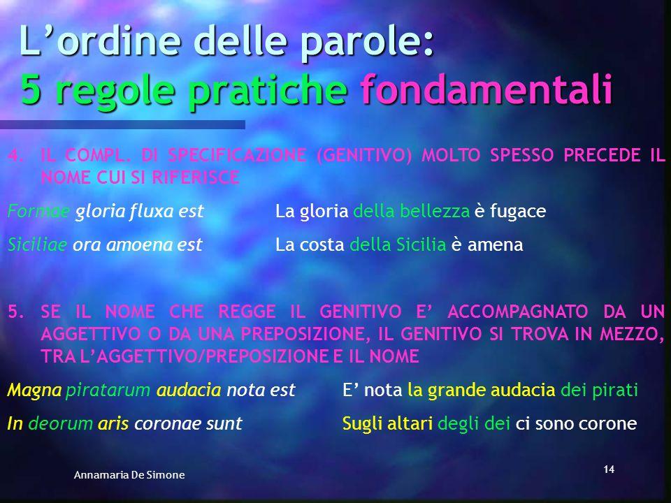 Annamaria De Simone 13 Lordine delle parole: 5 regole pratiche fondamentali 2. 2.IL VERBO QUASI SEMPRE E ALLA FINE DELLA FRASE Domina severa eratLa pa