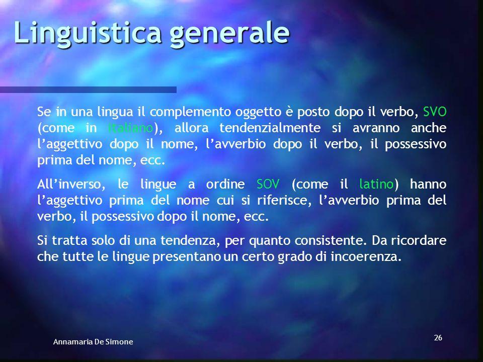 Annamaria De Simone 25 La posizione del complemento oggetto rispetto al verbo è un importante parametro, al quale di solito si accompagnano altri fatt
