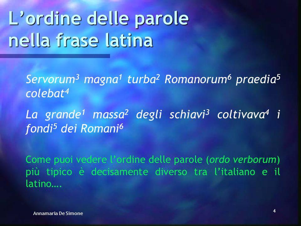 Annamaria De Simone 3 Lordine delle parole nella frase latina Servorum magna turba Romanorum praedia colebat La grande massa degli schiavi coltivava i