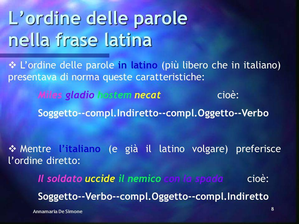Annamaria De Simone 7 Lordine delle parole nella frase latina Tornando alla disposizione delle parole in latino… Alcuni parlano di costruzione diretta