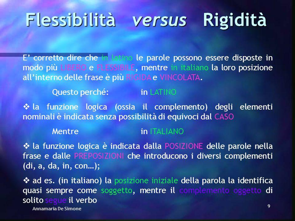 Annamaria De Simone 9 E corretto dire che in latino le parole possono essere disposte in modo più LIBERO e FLESSIBILE, mentre in italiano la loro posizione allinterno delle frase è più RIGIDA e VINCOLATA.
