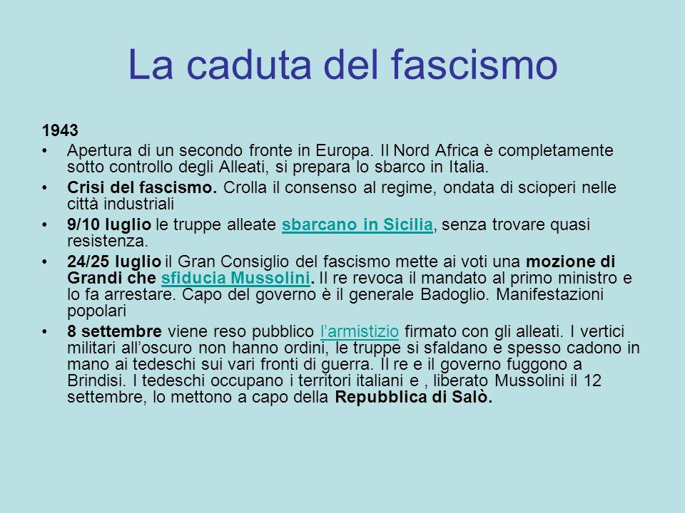LA REPUBBLICA DI SALO Gennaio 1944 Processo di Verona Socializzazione delle imprese Stato di polizia subordinato ai tedeschi Prime formazioni armate sulle montagne:antifascisti e renitenti alla leva.