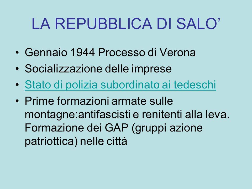 La resistenza Nasce la resistenza CLN, unione fra sostenitori del partito comunista(Brigate Garibaldi),, socialista (Brigate Matteotti), liberale, repubblicano, democratico-cristiano, partito dazione (giustizia e libertà) e monarchici.
