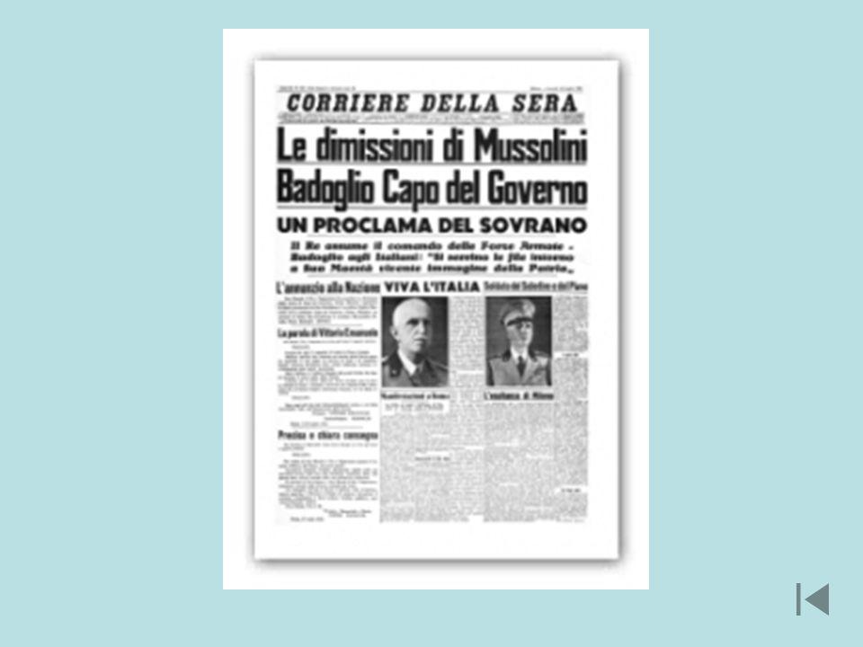 L8 settembre 1943 larmistizio con gli anglo-americani venne improvvisamente annunciato da un messaggio radio registrato di Badoglio, in quel momento in fuga con la famiglia reale verso Pescara: Il governo italiano, riconosciuta la impossibilità di continuare limpari lotta contro la soverchiante potenza avversaria, nellintento di risparmiare ulteriori e più gravi sciagure alla nazione, ha chiesto un armistizio al generale Eisenhower, comandante in capo delle forze alleate anglo-americane.