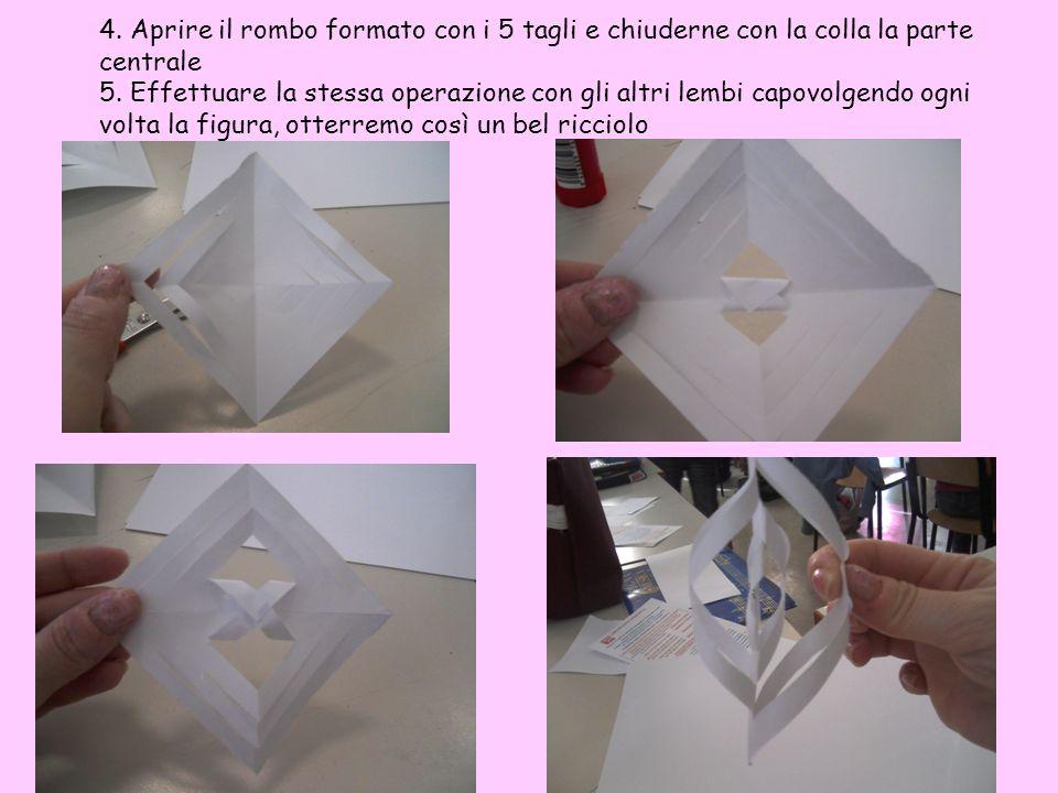 4. Aprire il rombo formato con i 5 tagli e chiuderne con la colla la parte centrale 5. Effettuare la stessa operazione con gli altri lembi capovolgend