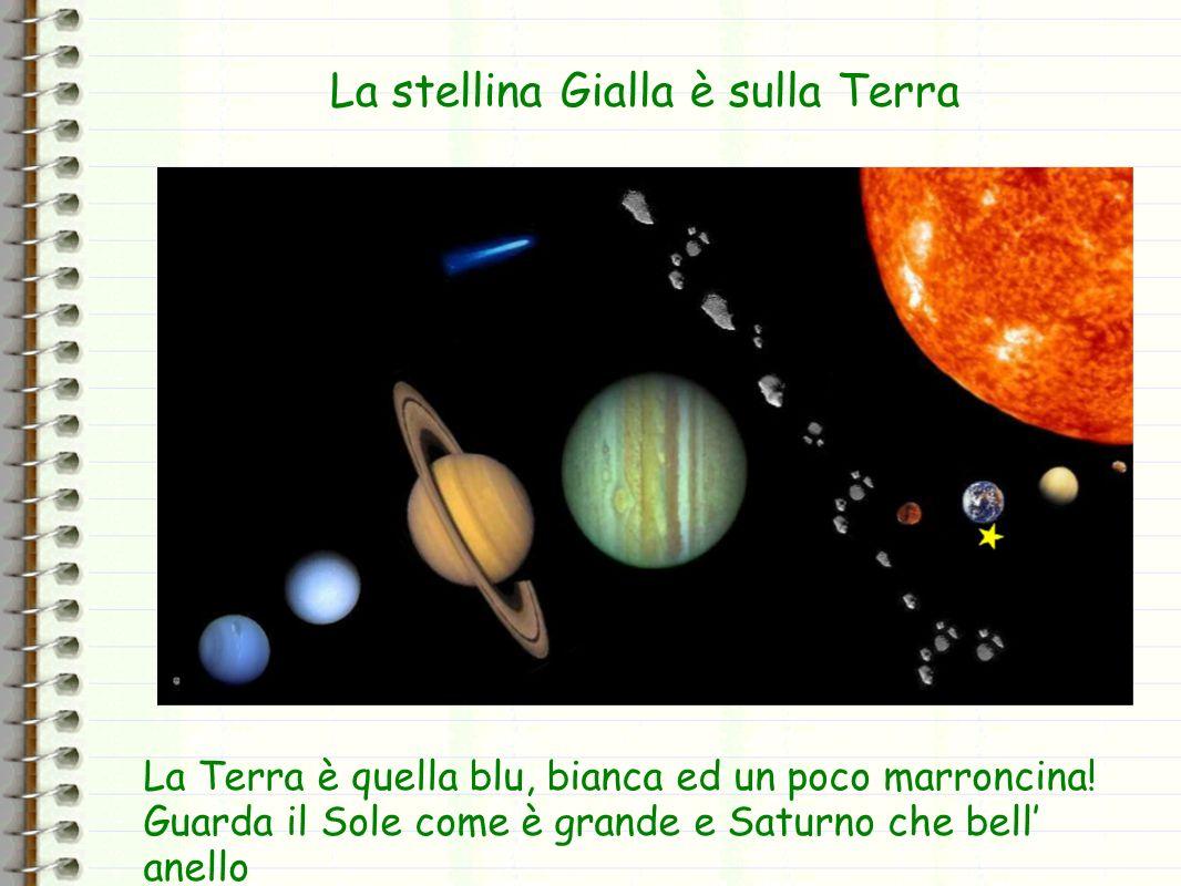 La stellina Gialla è sulla Terra La Terra è quella blu, bianca ed un poco marroncina! Guarda il Sole come è grande e Saturno che bell anello