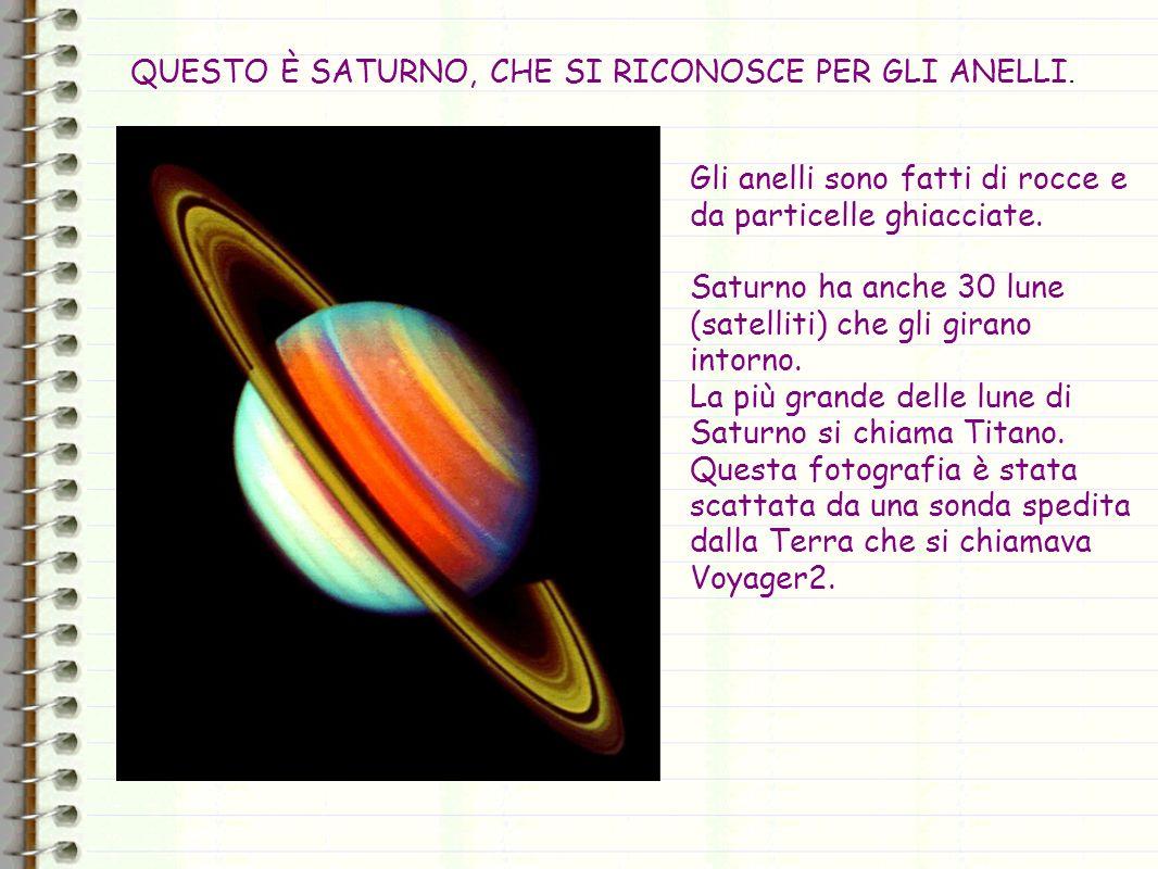 Gli anelli sono fatti di rocce e da particelle ghiacciate. Saturno ha anche 30 lune (satelliti) che gli girano intorno. La più grande delle lune di Sa