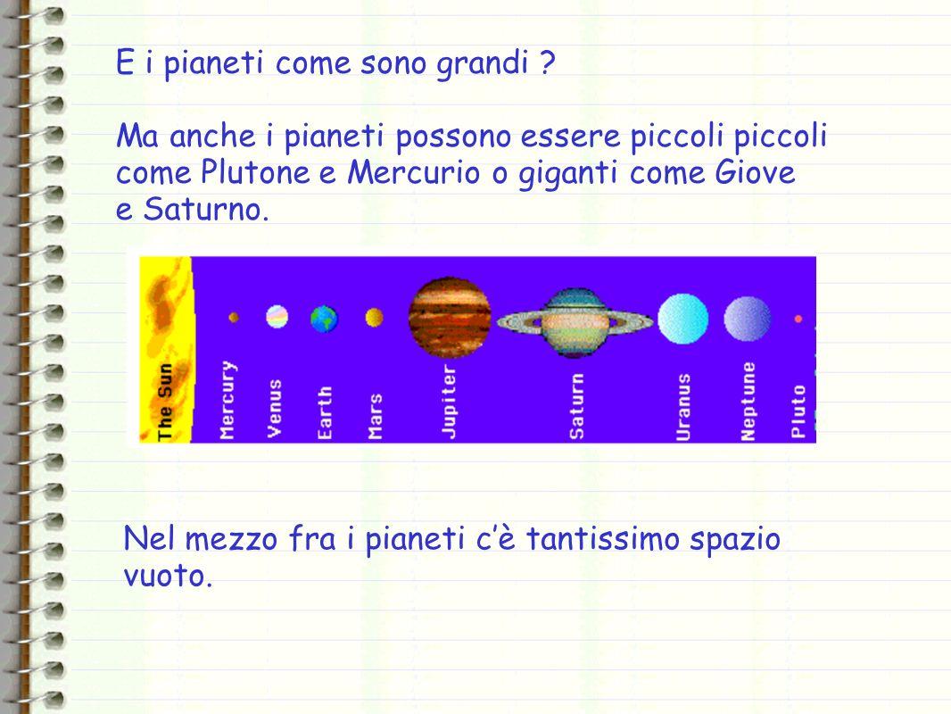 E i pianeti come sono grandi ? Ma anche i pianeti possono essere piccoli piccoli come Plutone e Mercurio o giganti come Giove e Saturno. Nel mezzo fra
