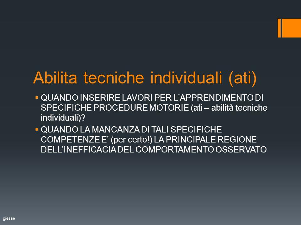 Abilita tecniche individuali (ati) QUANDO INSERIRE LAVORI PER LAPPRENDIMENTO DI SPECIFICHE PROCEDURE MOTORIE (ati – abilità tecniche individuali).