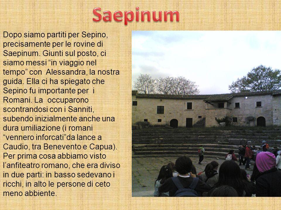 Dopo siamo partiti per Sepino, precisamente per le rovine di Saepinum. Giunti sul posto, ci siamo messi in viaggio nel tempo con Alessandra, la nostra