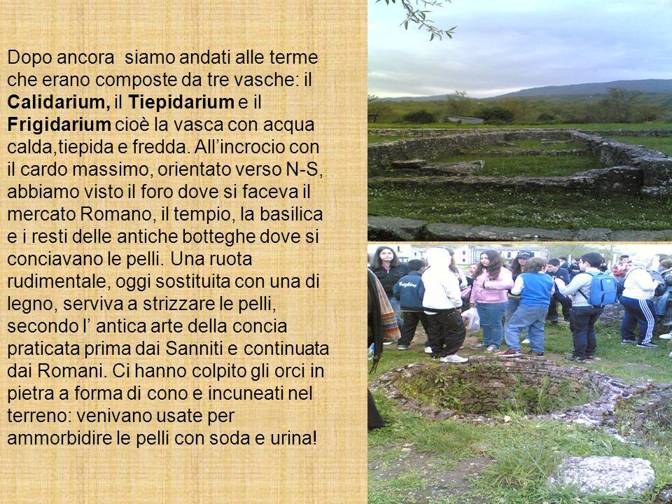 Dopo ancora siamo andati alle terme che erano composte da tre vasche: il Calidarium, il Tiepidarium e il Frigidarium cioè la vasca con acqua calda,tie