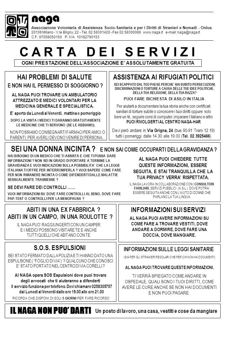 Associazione Volontaria di Assistenza Socio-Sanitaria e per i Diritti di Stranieri e Nomadi - Onlus 20136 Milano - V.le Bligny, 22 - Tel. 02 58301420