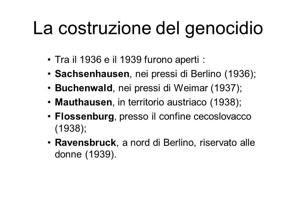 La costruzione del genocidio Dopo il 1939 sorsero: Neuengamme, nei pressi di Amburgo, dove furono deportati soprattutto scandinavi (1940); Gross-Rosen, nella Slesia inferiore (1941); Auschwitz, nei pressi di Cracovia, in Polonia (1940), campo principale e cuore di un triplice complesso, che comprende Auschwitz II-Birkenau (1941) e Auschwitz III-Monowitz (1942); Majdanek (1941), Chelmo (1941), Belzec (1942), Sobibor (1942), Treblinka (1942), tutti in Polonia e tutti campi di sterminio immediato; Bergen-Belsen, nei pressi di Amburgo (1943); Dora-Mittelbau, nel centro della Germania, sede di fabbriche sotterranee per le armi(1943), come Ebensee e Gusen (sottocampi di Mauthausen).